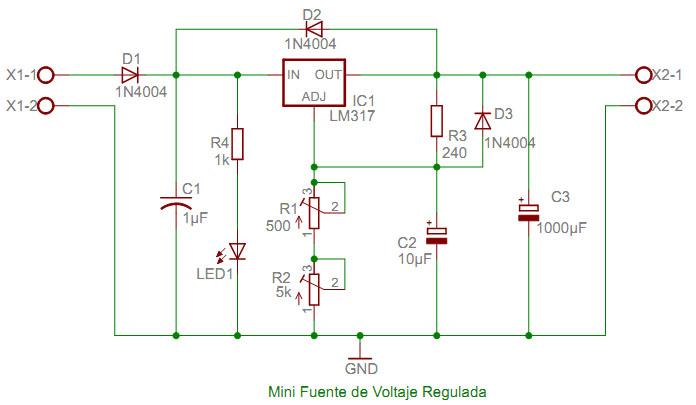 Esquema mini-fuente voltaje con LM317