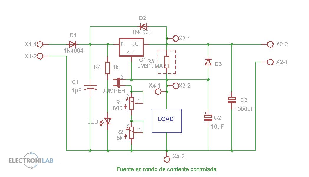 Esquema mini-fuente en modo fuente de corriente