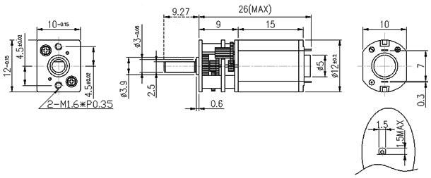 Dimensiones motorreductor Pololu - Electronilab