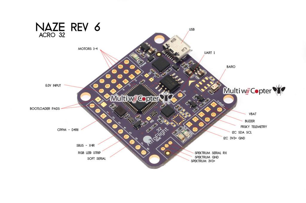 Controlador de vuelo NAZE32 REV6a 32-bit 10 DOF para Multicopteros (10)