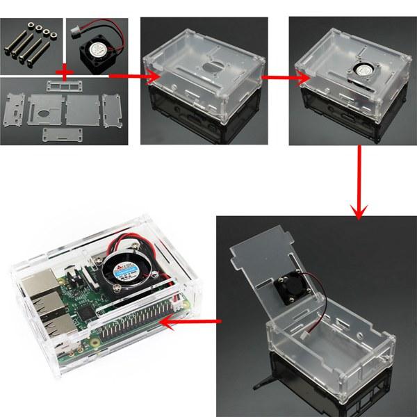Caja o Case Raspberry Pi Modelo B+Pi 2Pi 3 en Acrílico con Ventilador - diagrama
